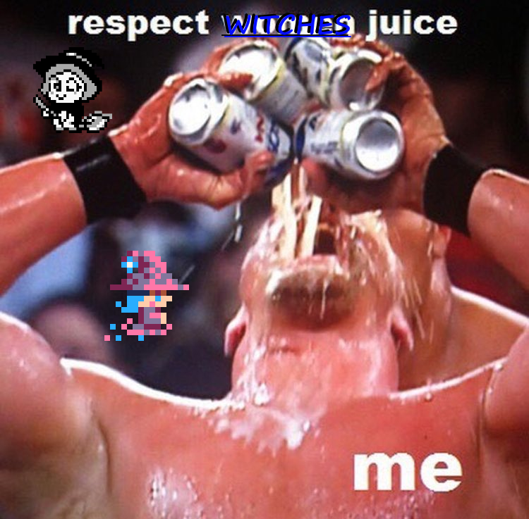 a wrestler drinking RESPECT WITCHES JUICE