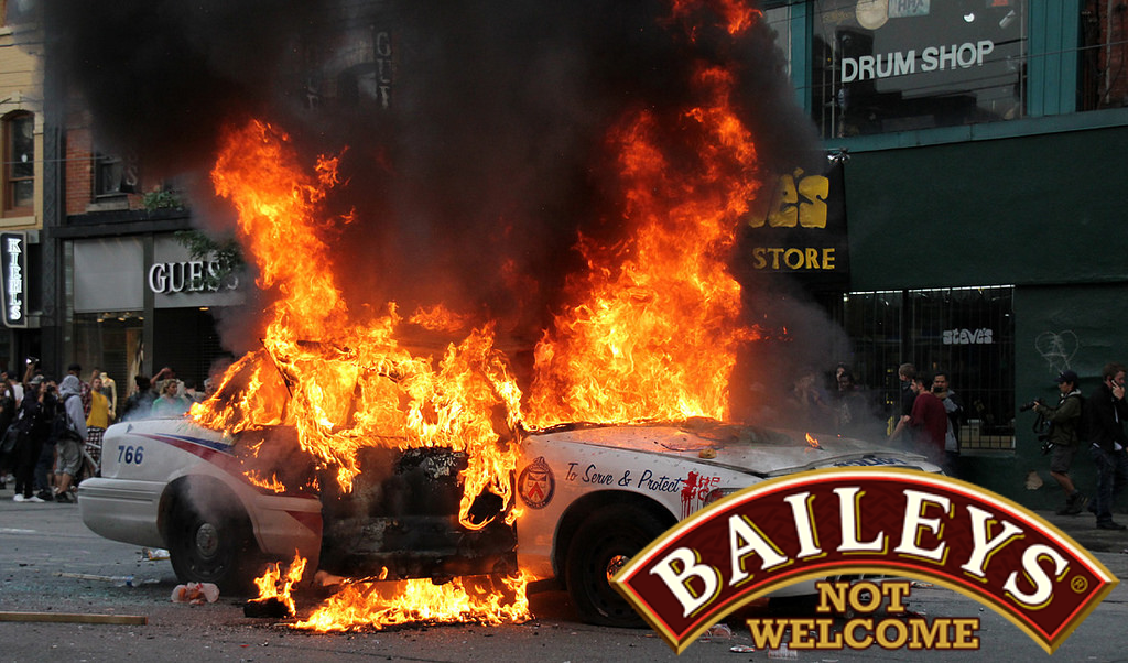 cop car on fire. baileys not welcome.